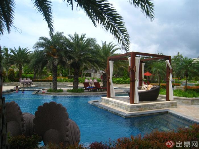 简欧风格小区景观-棕树凉亭景观水池泳池-设计师图库