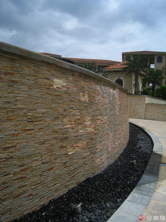 简欧风格小区景观-跌水墙景墙水景墙-设计师图库