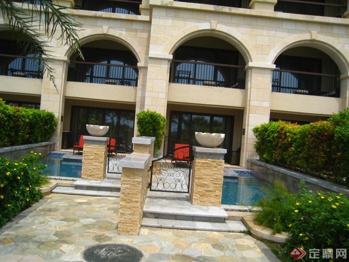 简欧风格小区景观-住宅景观花钵花园门铺装景观水池