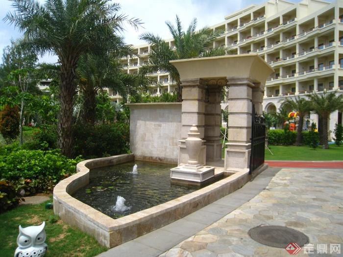 簡歐風格小區景觀-大門涼亭崗亭景觀水池鋪裝-設計師