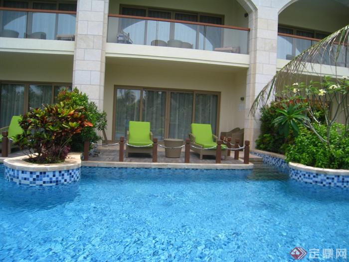 简欧风格小区景观-景观水池种植池躺椅木平台-设计师