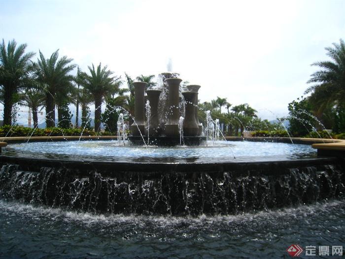 喷泉水景,跌水景观,景观水池