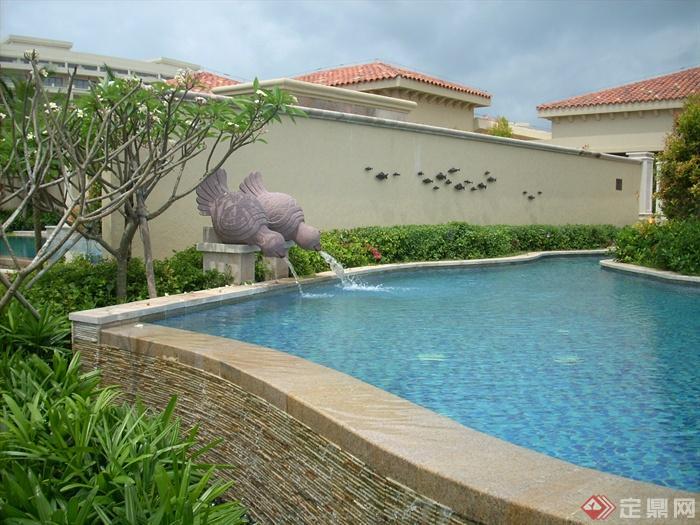 简欧风格小区景观-喷泉水景景观水池围墙-设计师图库