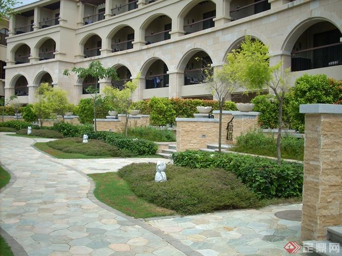 简欧风格小区景观-铺装花池挡墙-设计师图库