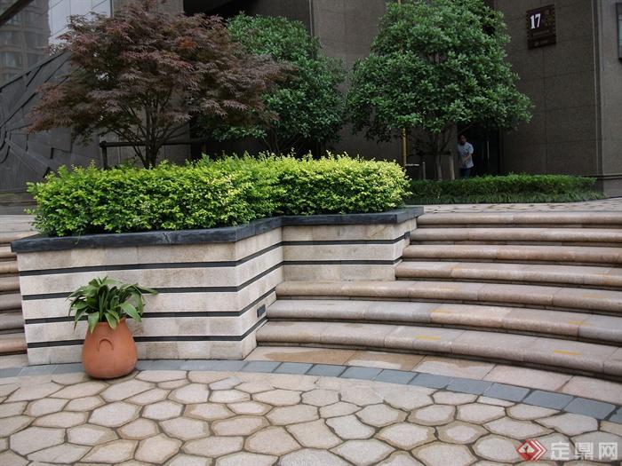 现代住宅景观规划设计图-台阶花钵花池植物-设计师