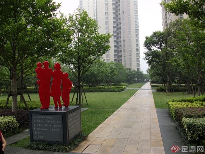 现代住宅景观规划设计图-园路指示牌小品植物-设计师