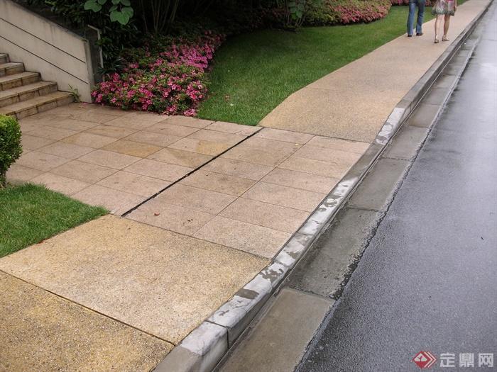 现代住宅景观规划设计图-岔路口地面铺装植物-设计师