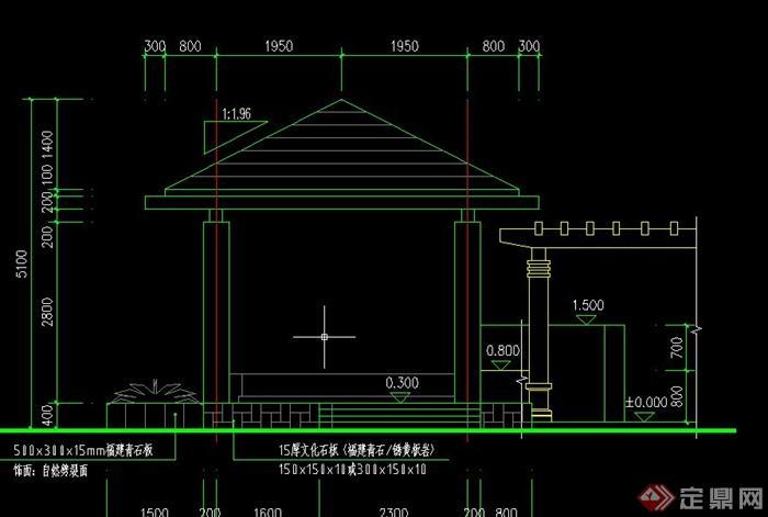 园林景观四角木凉亭设计cad施工图