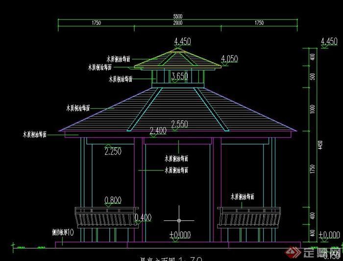 某古典中式木结构八角亭设计cad图