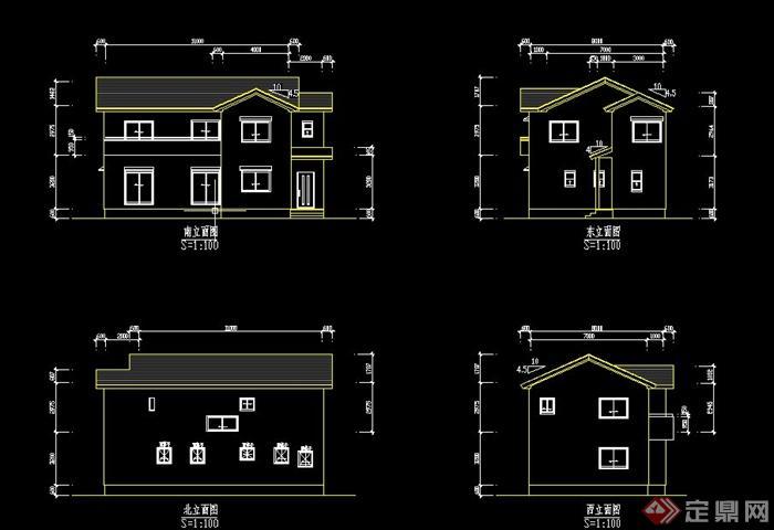 某两层木质住宅小屋建筑设计cad方案图