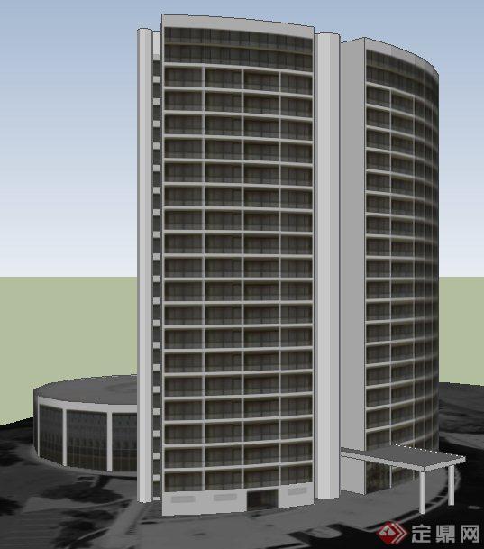 现代弧形高层写字楼建筑设计su模型(1)