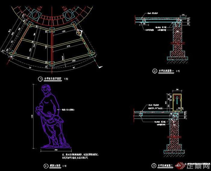 欧式特色景亭及木平台施工图
