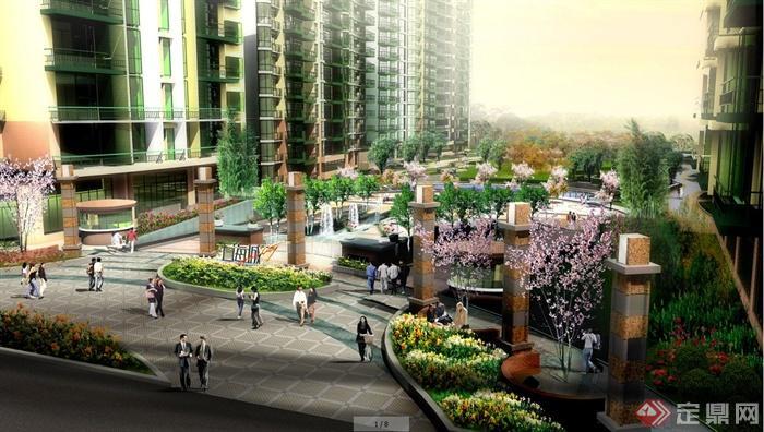 现代风格小区住宅景观效果图