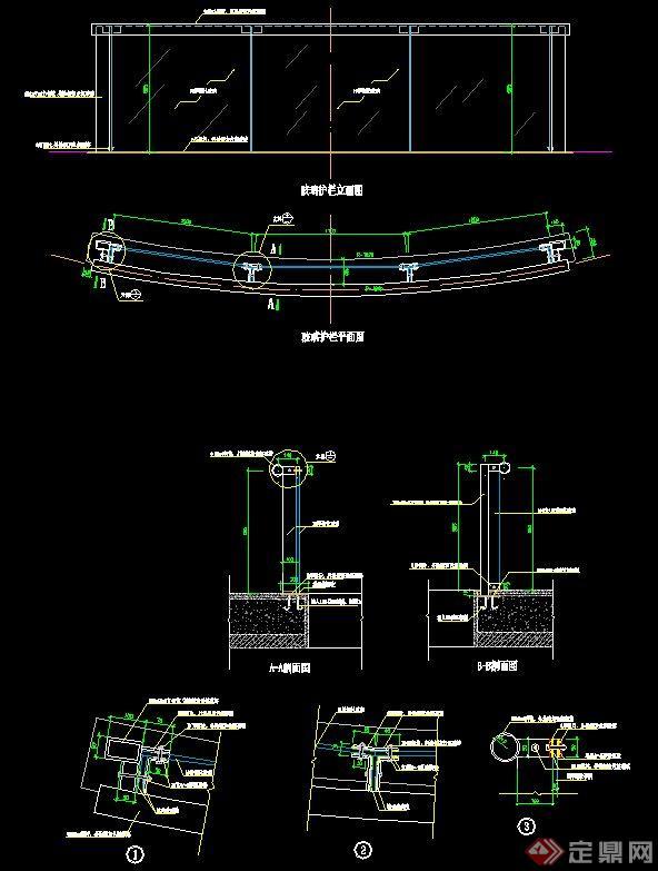 两个护栏v两个CAD施工图[Theglassguardraildcad重合图形旋转玻璃图片