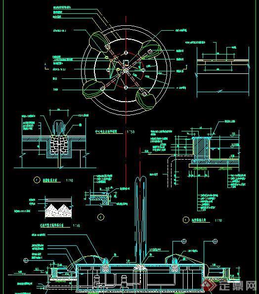 某广场中心喷泉设计CAD施工图