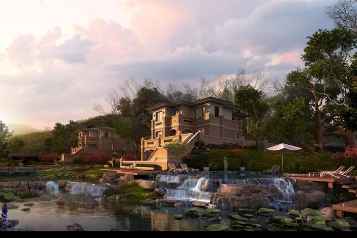 欧式风格别墅建筑景观3dmax模型[原创]