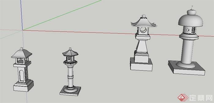 多款古典中式石灯笼灯龛su模型