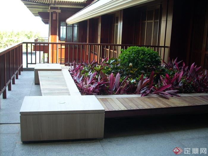 现代中式风格会所景观-种植池坐凳栏杆-设计师图库