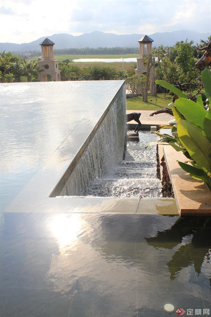 跌水水景,景观水池,塔楼