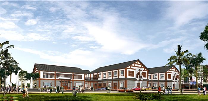 现代新中式办公楼建筑设计su模型(含效果图)