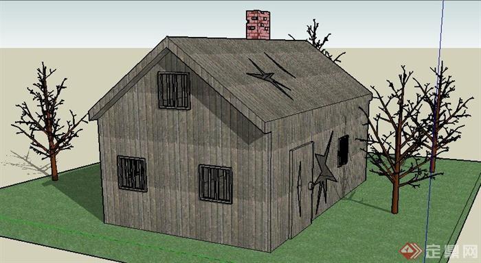 单层木板小民房建筑设计su模型