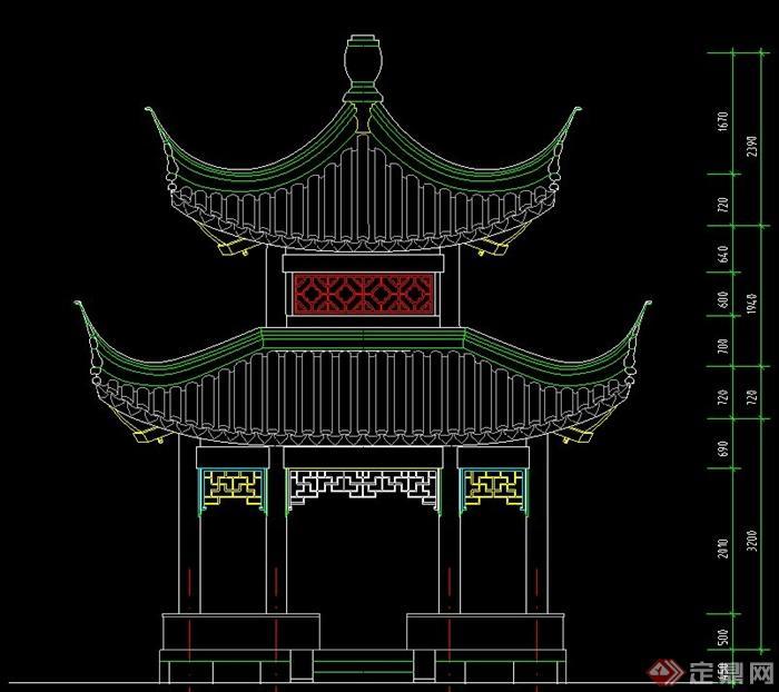 古典中式四方重檐亭设计cad施工图
