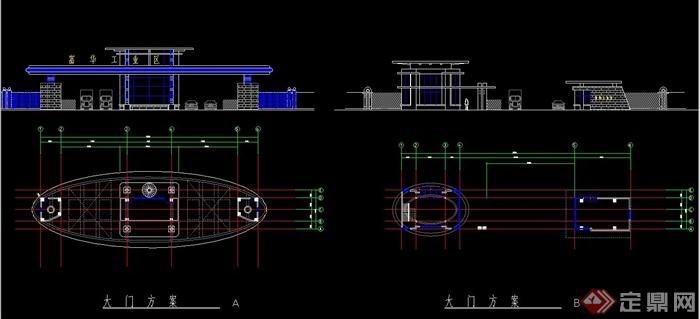 现代某工厂大门设计cad方案图