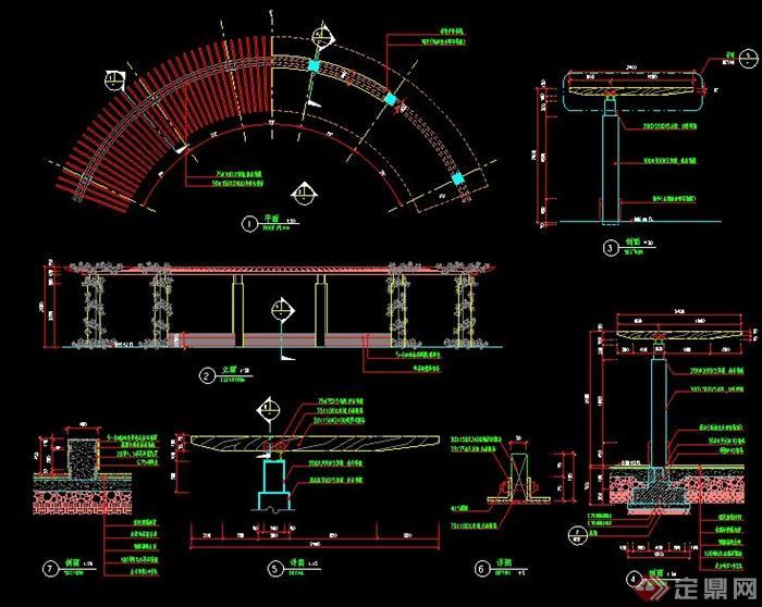 现代弧形木廊架施工图