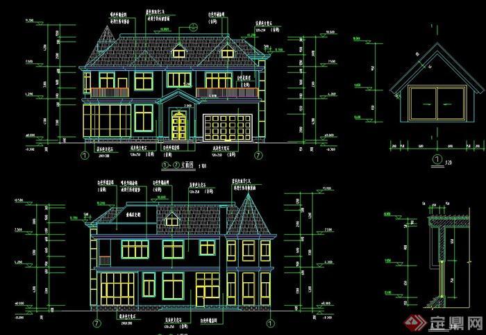 某两层别墅建筑方案图与结构图设计cad图