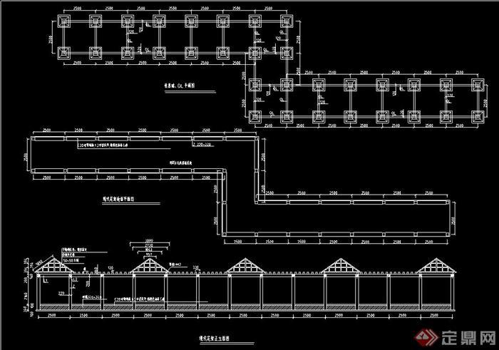 园林景观现代花架廊亭设计cad施工图