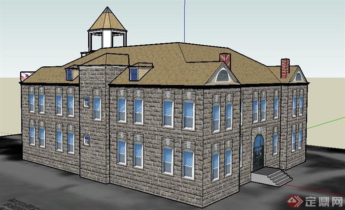 欧式二层法院建筑设计su模型