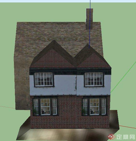某欧式乡村两层阁楼式住宅建筑设计su模型