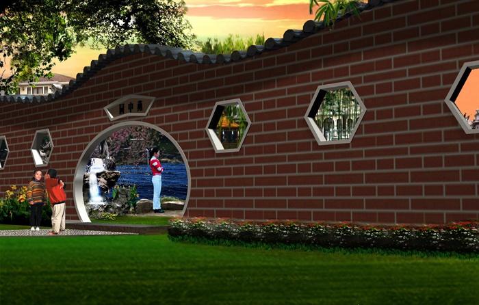 古典中式别墅景观设计JPG效果图