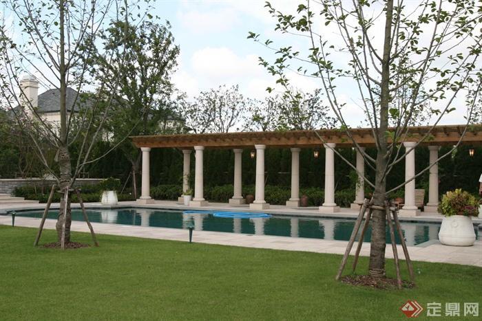 歐式別墅建筑與景觀-廊架景觀水池花缽-設計師圖庫