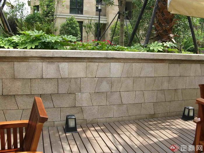 欧式住宅小区景观环境-挡墙庭院灯-设计师图库