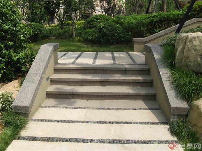 欧式小区住宅景观实景-台阶铺装-设计师图库