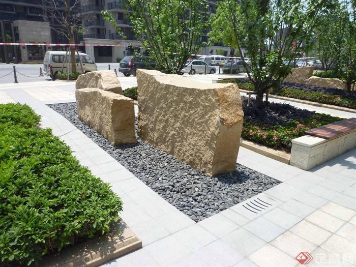 景石,坐凳,种植池