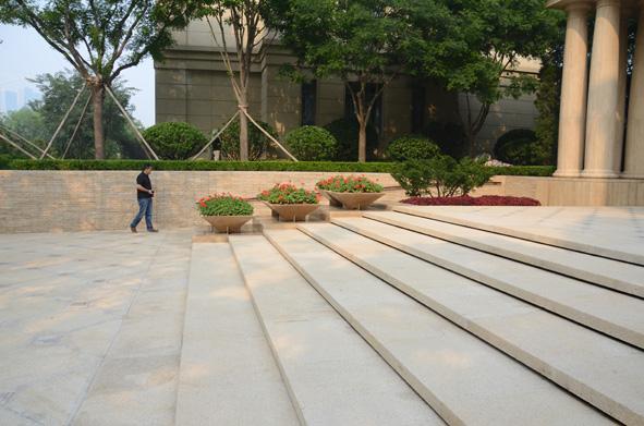 会所别墅区景观设计实景图-台阶花钵树池-设计师图库