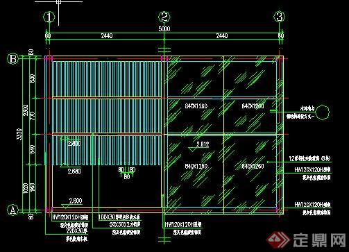 现代玻璃木廊架施工图