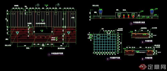 景设计cad施工图,包含了栈道平立面详图,梁平面图,节点详图,标注详细