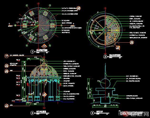 欧式圆顶景观亭施工图