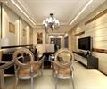 客厅,椅子,吊灯,电视墙,电视柜,边几,台灯