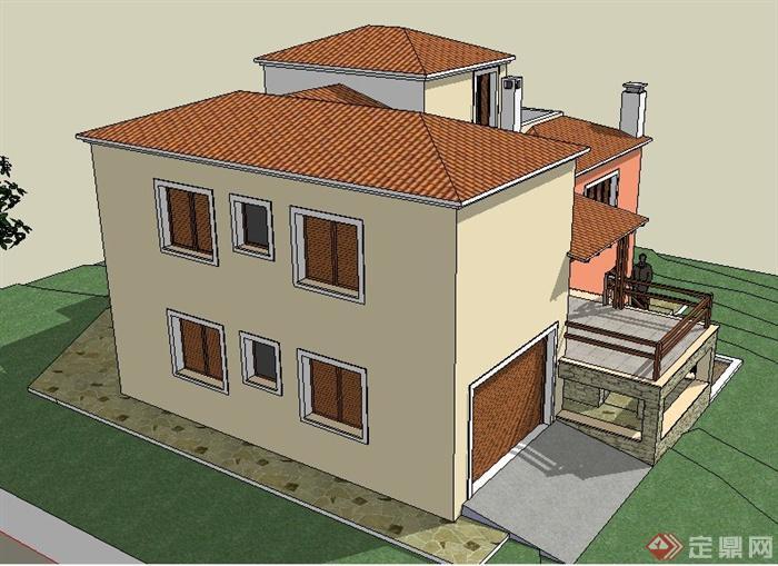 现代住宅小别墅建筑设计su模型