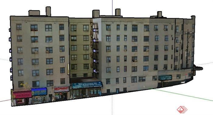 现代六层沿街商业办公楼建筑设计su模型(2)