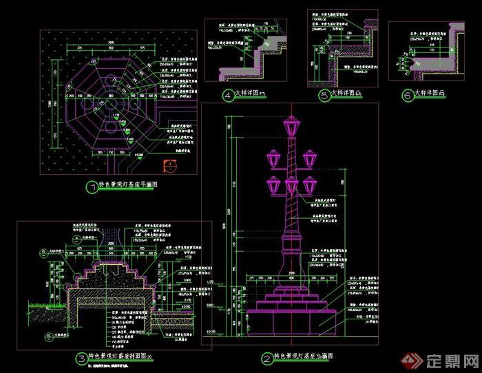 欧式景观灯柱设计cad施工图