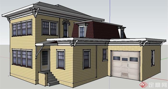 欧式二层别墅住宅建筑设计su模型