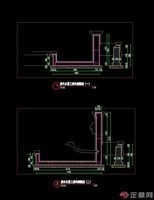 特色吐水景墙设计CAD施工图