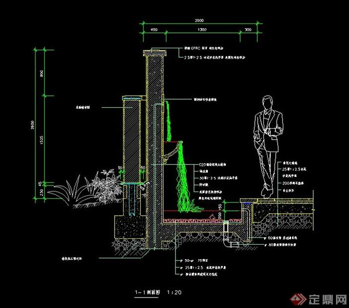某个水景墙设计CAD施工图