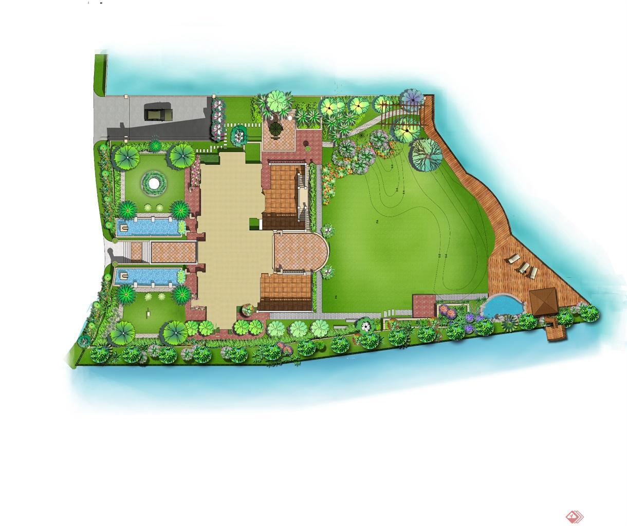 位于无锡的别墅庭院 有假山 水池