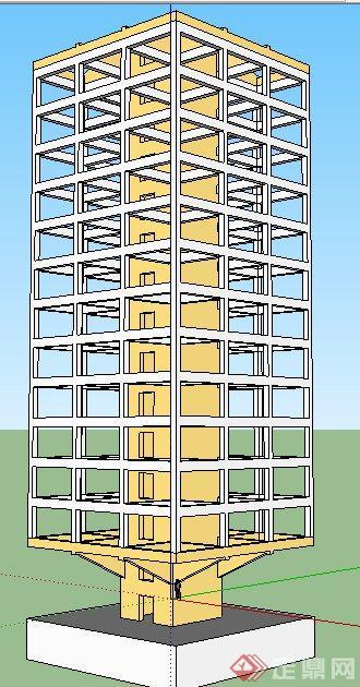高层建筑框架su模型